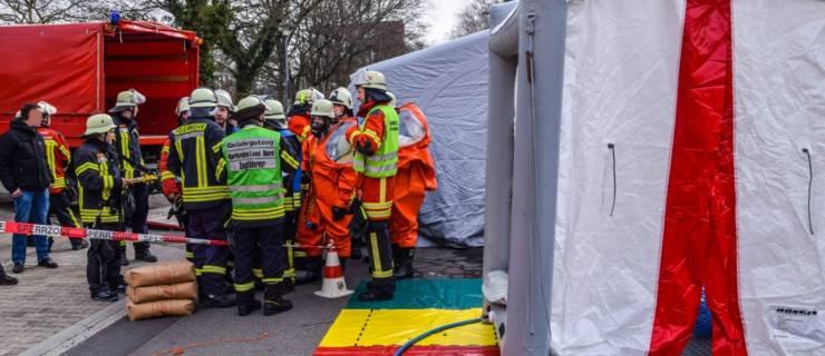 Chlorgasausströmung in Klinik sorgt für stundenlangen Großeinsatz in Bad Schönborn