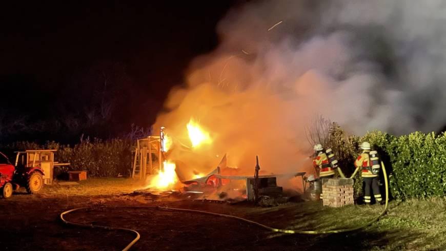 Gartenhüttenbrand in Spöck