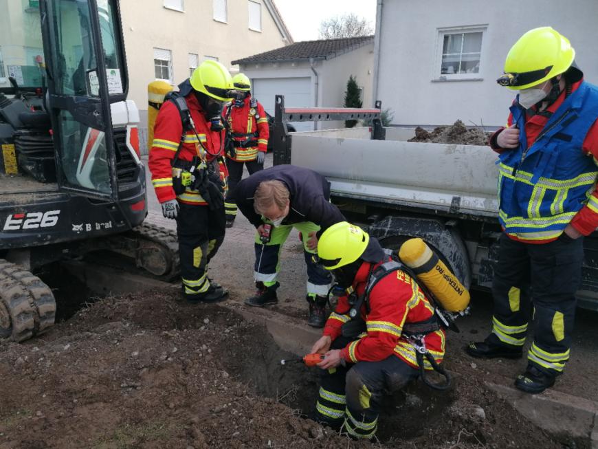 Gasleitung bei Bauarbeiten beschädigt